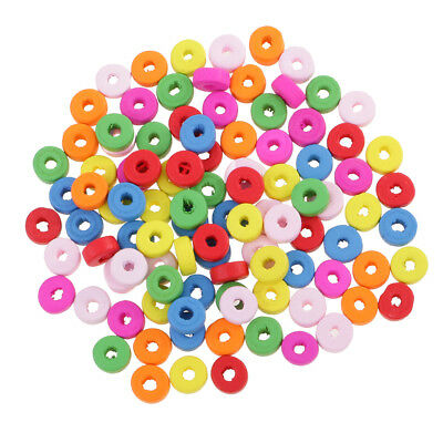 100x Wooden Rondelle Beads Spacer Beads Findings for DIY Jewelry Making 8mm