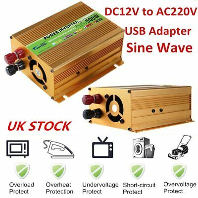 500W (1000W Peak) Power Inverter Car DC 12V to AC 220V Converter w/ USB Charger@