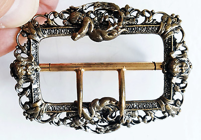 Victorian Era Ladies Ornate Brass Belt Buckle Babies Cherubim Original Vintage