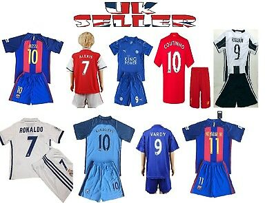 Football Kits Soccer Kids Team Suit Short Sleeve Jersey Kit 3-14 Yrs