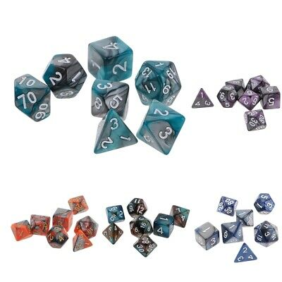 7-die Polyhedral Dice for Dungeons and Dragons DND RPG D20 D12 D10 D8 D6 D4 Game