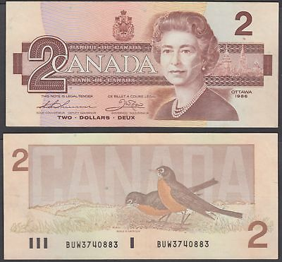 Canada 2 Dollars 1986 (VF++) Condition Banknote QEII P-94b