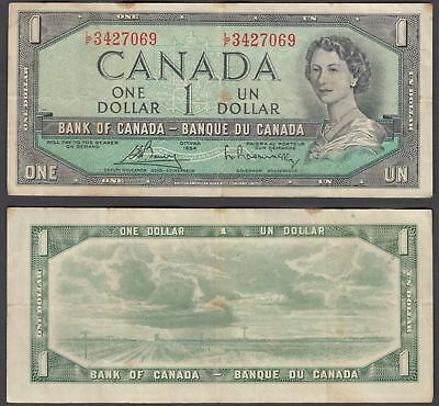Canada 1 Dollar 1954 (1972-73) Banknote (VF) Condition QEII KM #75c
