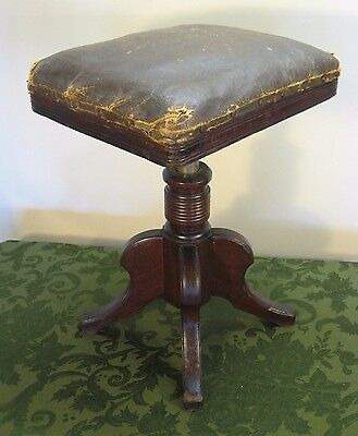 ANTIQUE VICTORIAN 1800s LEATHER TOP ADJUSTABLE PIANO STOOL, ORGAN, SEAT