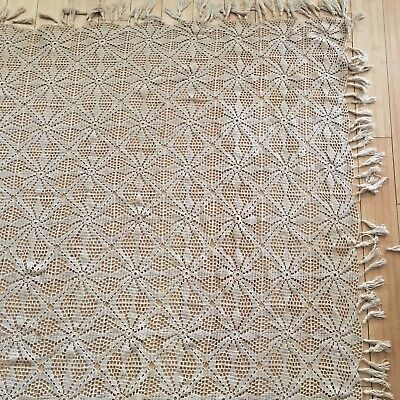 Cotton Crochet Bedspread 94 X 87 Cutter Craft Fringe 1900s Antique Handmade Big
