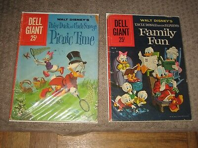 Lot of 2 Walt Disney Dell Giant Comic Books Daisy Duck Uncle Scrooge Donald 1960