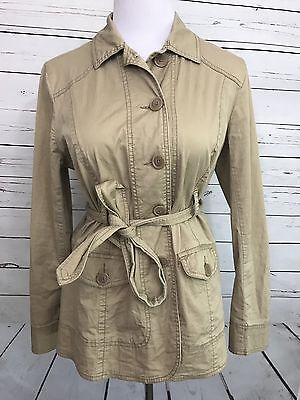 Motherhood Maternity Women's Sz Medium Trench Coat Tie Waist Fall Coat Beige