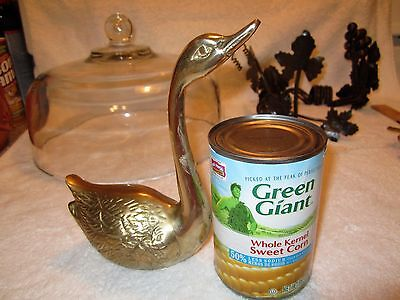 """Vintage Solid  Brass  Swan  7"""" Tall Very detailed"""
