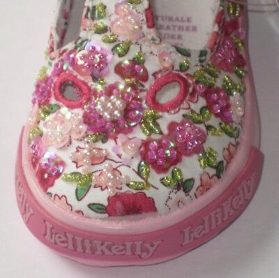 Lelli Kelly LK8013 Glicine White Pink Floral Shoes New T strap Hand Beaded NEW