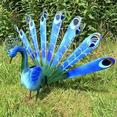 Greenfingers Metal Peacock Garden Ornament Sculpture Patio Decor 62cm Bird Gift