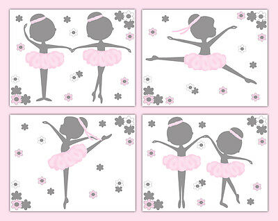 Ballerina Nursery Prints Wall Art Decor Pink Silhouette Baby Girl Ballet Room