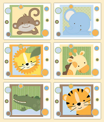 Safari Animal Nursery Prints Wall Art Baby Boy Neutral Jungle Shower Gift Decor