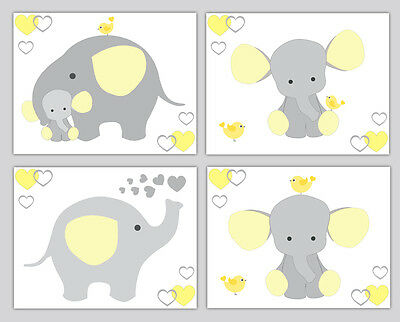 Yellow Grey Gray Elephant Neutral Nursery Wall Art Prints Jungle Safari Animals
