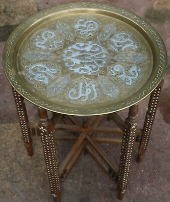 Unusual Old Brass Topped Inlaid Folding Occasional Table To Tidy Up