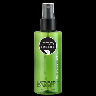 CBD FOR LIFE PURE CANNABINOID EXTRACT MENTHOL CAMPHOR PAIN RELIEF SPRAY 4oz. NEW