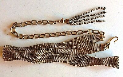 "Vintage goldtone adjustable mesh belt with chain tassle  32"" to 40"""
