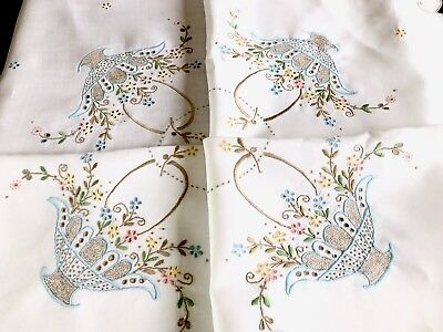 VINTAGE HAND EMBROIDERED  WHITE LINEN TABLECLOTH 51x51 INCHES