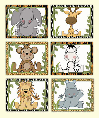 Safari Animal Nursery Prints Wall Art Baby Boy Neutral Jungle Elephant Monkey