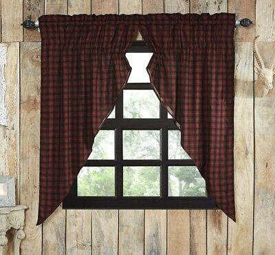 CUMBERLAND Prairie Curtain Set Red/Black Plaid Lodge Rustic Primitive-VHC Brands
