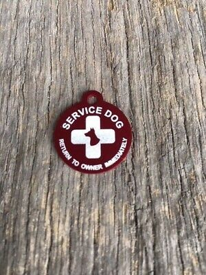 Small Personalized Aluminum Service Dog Pet ID Dog and Cross Tag MADE IN USA