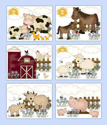 Farm Nursery Prints Wall Art Barnyard Animal Baby Girl Kids Bathroom Decor