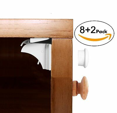Baby Safety Magnetic Locks For Cabinet And Drawers 8 Locks+ 2 Keys-Baby Proof No
