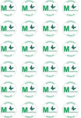 24x PRECUT MACMILLAN D CANCER SUPPORT/CHARITY RICE/WAFER PAPER CUP CAKE TOPPERS