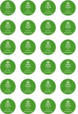 24 Precut Macmillan Keep Calm Cancer Support/Charity Rice/Wafer Cup Cake Toppers