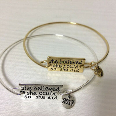 Bangle Charms Women Bracelet Inspirational She Believed She Could So She Did