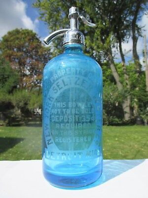 New York Seltzer Water Co. Detroit, Mich. Etched Glass Seltzer Prohibition Era