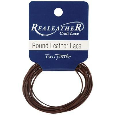Round Leather Lace 1mmX2yd Packaged Brown RL0102-0103