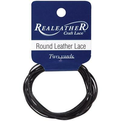 Round Leather Lace 1mmX2yd Packaged Black RL0102-0112