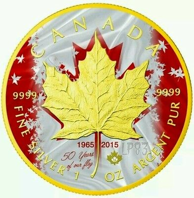2015 Canada Maple Patriotic Flag Anniversary 1 Oz Silver Coin - 24K Gold Gilded