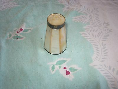 Vintage Mother Of Pearl Single Shaker With Burma In Red On The Bottom