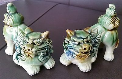 """A Pair of 19th Century Mirror Imaged Chinese Glazed Pottery 4"""" Ornamental Tigers"""