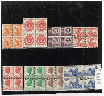 Australia, small acumulation of stamps in blocks of four, MNH.