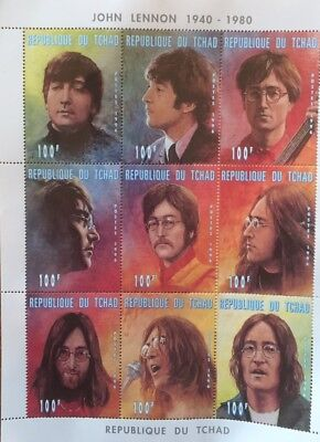 John Lennon Block of 9 Stamps With Certificate Of AuthenticIty Issue LB7 # 4211