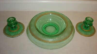 Antique Green Glass w/ Gold Gild Trim Candlestick Candle Holders Bowl Dish Set