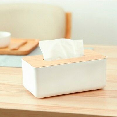Tissue Box Dispenser Wooden Cover Paper Storage Holder Napkin Case Organizer
