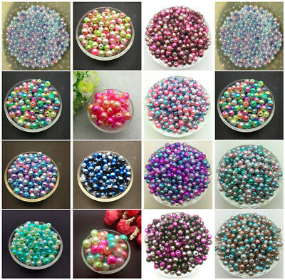 Wholesale 4/6/8/10mm Acrylic Round Pearl Spacer Loose Beads Jewelry Making DIY