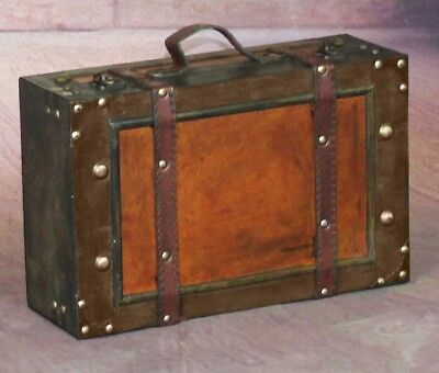 Small Old Style Suitcase w/ Stripes Great for Storage Decoration Antique Look