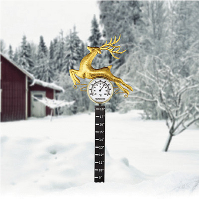 Reindeer Snow Measurer With Thermometer Garden Stake