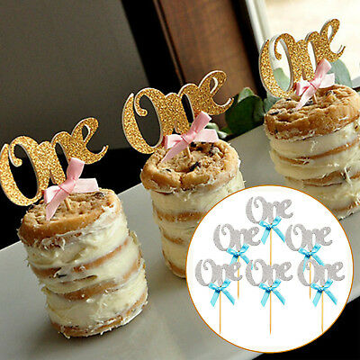 6pcs Cake Topper 1st Birthday Cupcake Baby Shower Gold Party Decoration Supplies