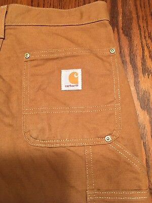 Carhartt Brown Duck Double Front Work Dungaree 29X32 Loose Original Fit - B14