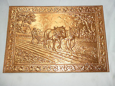 LARGE DRAFT HORSE FARM SCENE WALL PLAQUE - EMBOSSED COPPER - Excellent condition