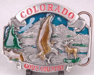 SISKIYOU Belt Buckle-Colorado God's Country-Eagle-Pewter/Enamal-P-43-1993-Eagle