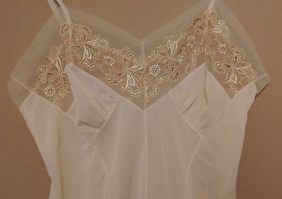 VINTAGE Sheer Pink Embroidered Wedding Bridal Nightie Nighty Nightgown - 12