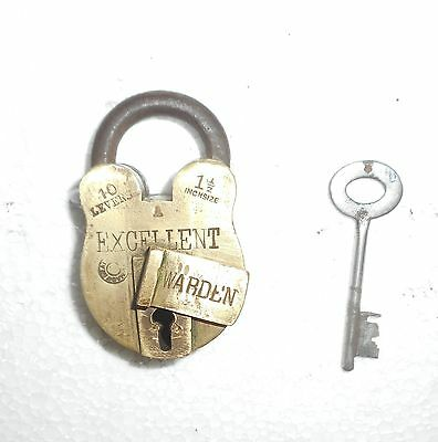India Antique Brass handmade Padlock with Key working condition Br385
