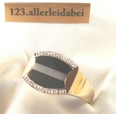 Siegelring 375 Gold Ring Diamanten Fingerring Damenring Herrenring / FF 426