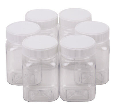 Plastic Honey Jar 500gm Square White Lid Food Grade Carton of 210pcs Jars & Lid